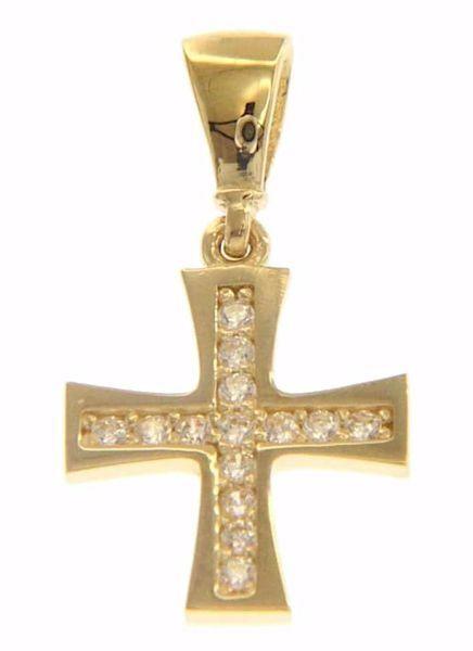 Immagine di Croce Patente con punti luce Ciondolo Pendente gr 0,8 Oro giallo 18kt con Zirconi da Donna