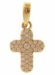 Immagine di Croce stondata punti luce e castone centrale Ciondolo Pendente gr 1 Oro giallo 18kt con Zirconi da Donna