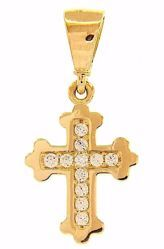 Picture of Tri-lobed double Cross with Light Spots Pendant gr 0,85 Yellow Gold 18k with Zircons for Woman