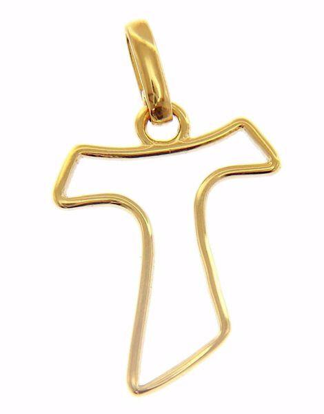 Immagine di Croce Tau di San Francesco aperta Ciondolo Pendente gr 1 Oro giallo 18kt da Donna
