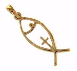 Imagen de Símbolo Pez con Cruz Colgante gr 1,5 Oro amarillo 18kt para Mujer