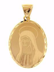 Picture of Madonna Virgin Mary Oval Pendant gr 1,9 Yellow Gold 18k with decorated edge for Woman