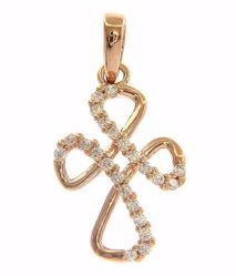 Picture of Cloverleaf Cross with Light Spots Pendant gr 1,1 Rose Gold 18k with Zircons for Woman