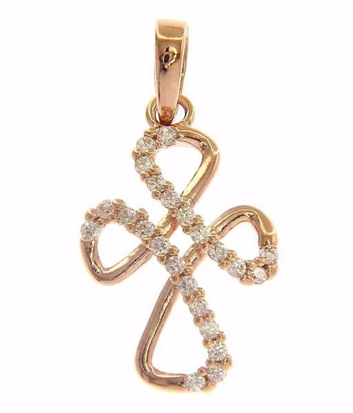 Immagine di Croce a quadrifoglio con punti luce Ciondolo Pendente gr 1,1 Oro rosa 18kt con Zirconi da Donna
