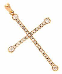 Immagine di Croce sottile dritta 4 castoni e punti luce Ciondolo Pendente gr 2 Oro rosa 18kt con Zirconi da Donna