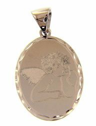 Picture of Angel of Raphael Oval Pendant gr 1,9 White Gold 18k with decorated edge for Woman, Boy and Girl