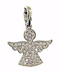 Imagen de Ángel de la Guarda con puntos de Luz Colgante gr 1,8 Oro blanco 18kt con Zircones para Mujer y para Niña y Niño