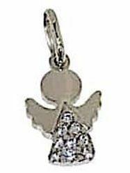 Immagine di Angelo Protettore con punti luce Ciondolo Pendente gr 1,5 Oro bianco 18kt con Zirconi Donna Bimba Bimbo