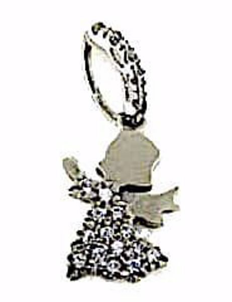 Imagen de Ángel de la Guarda con puntos de Luz Colgante gr 1,2 Oro blanco 18kt con Zircones para Mujer y para Niña y Niño