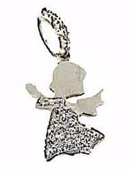 Immagine di Angelo Custode con punti luce Ciondolo Pendente gr 1,8 Oro bianco 18kt con Zirconi Donna Bimba Bimbo