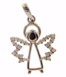 Picture of Guardian Angel with Light Spots Pendant gr 1,55 White Gold 18k with Zircons for Woman, Boy and Girl