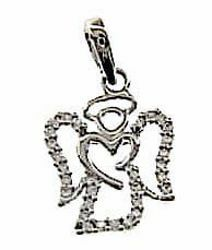 Picture of Guardian Angel with Heart and Light Spots Pendant gr 1,5 White Gold 18k with Zircons for Woman, Boy and Girl