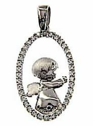 Picture of Guardian Angel with Light Spots Oval Pendant gr 2,4 White Gold 18k with Zircons for Woman, Boy and Girl
