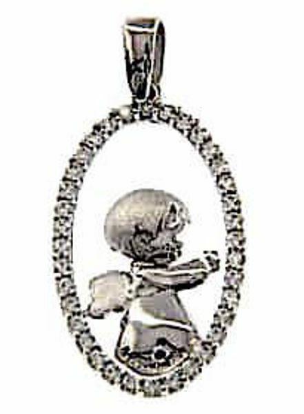 Imagen de Ángel de la Guarda con puntos de Luz Colgante oval gr 2,4 Oro blanco 18kt con Zircones para Mujer y para Niña y Niño