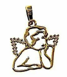 Picture of Angel of Raphael with Light Spots Pendant gr 1,7 Yellow Gold 18k with Zircons for Woman, Boy and Girl