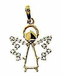 Picture of Stylized Angel with Light Spots Pendant gr 1,55 Yellow Gold 18k with Zircons for Woman, Boy and Girl
