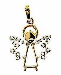 Immagine di Angelo stilizzato con punti luce Ciondolo Pendente gr 1,55 Oro giallo 18kt con Zirconi Donna Bimba Bimbo