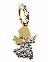 Immagine di Angelo Custode con punti luce Ciondolo Pendente gr 1,3 Oro giallo 18kt con Zirconi Donna Bimba Bimbo