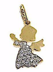 Immagine di Angelo Custode con punti luce Ciondolo Pendente gr 1,9 Oro giallo 18kt con Zirconi Donna Bimba Bimbo
