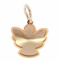 Picture of Guardian Angel Silhouette Pendant gr 1 Bicolour rose white Gold 18k with satin edge for Children (Boys and Girls)