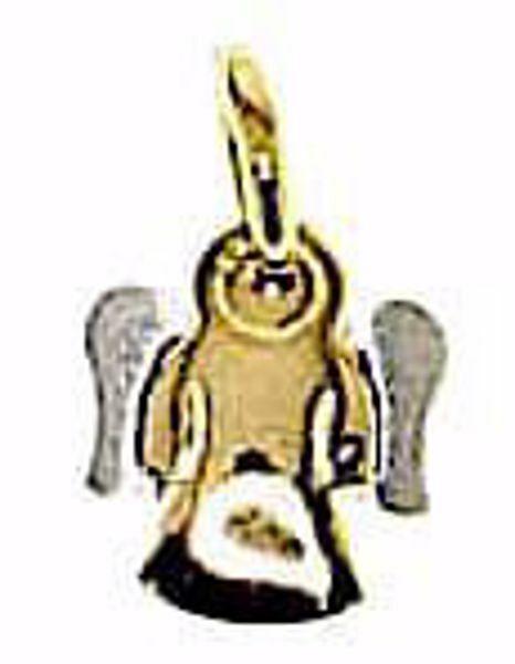 Imagen de Ángel de la Guarda estilizado Colgante gr 1,3 Bicolor Oro blanco amarillo 18kt para Niño y Niña