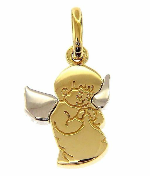 Picture of Guardian Angel praying Pendant gr 2,6 Bicolour yellow white Gold 18k for Children (Boys and Girls)