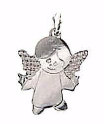 Immagine di Angelo Custode Ciondolo Pendente gr 1,1 Oro bianco 18kt per Bimba e Bimbo