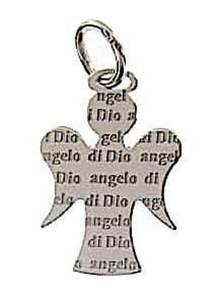 Picture of Guardian Angel with engraved prayer Angelo di Dio Pendant gr 1,05 White Gold 18k for Children (Boys and Girls)