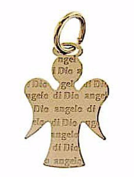 Immagine di Angelo Custode con Preghiera Angelo di Dio Ciondolo Pendente gr 1,1 Oro giallo 18kt per Bimba e Bimbo