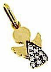 Immagine di Angelo stilizzato con punti luce Ciondolo Pendente gr 1,6 Oro giallo 18kt con Zirconi per Bimba e Bimbo