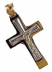 Picture of Double Cross with Body of Christ Pendant gr 2,3 Bicolour yellow white Gold 18k relief printed plate for Man