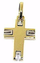 Immagine di Croce design stile moderno Ciondolo Pendente gr 3,5 Bicolore Oro massiccio giallo bianco 18kt da Uomo