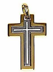 Picture of Latin triple Cross Pendant gr 5,4 Bicolour yellow white solid Gold 18k for Man