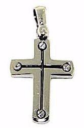 Immagine di Croce design stile moderno con viti Ciondolo Pendente gr 2,7 Oro bianco massiccio 18kt da Uomo