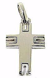 Immagine di Croce design stile moderno Ciondolo Pendente gr 3,5 Oro bianco massiccio 18kt da Uomo