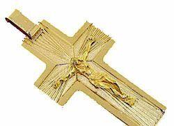 Immagine di Croce dritta con corpo di Cristo e raggi di luce Ciondolo Pendente gr 10,7 Oro giallo massiccio 18kt da Uomo