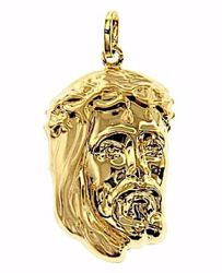 Picture of Holy Face of Jesus Christ Pendant gr 2,4 Yellow Gold 18k relief printed plate for Man