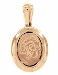 Picture of Holy Face of Jesus with Crown of Thorns Ecce Homo Sacred Oval Medal Pendant gr 2,8 Yellow Gold 18k Unisex Woman Man