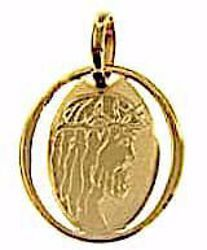 Picture of Holy Face of Jesus Christ Sacred Oval Medal Pendant gr 0,7 Yellow Gold 18k Unisex Woman Man