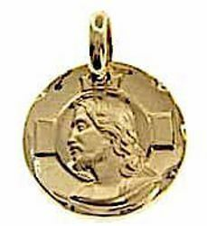 Picture of Holy Face of Jesus Christ with aureole and carved Edge Sacred Medal Round Pendant gr 3,4 Yellow Gold 18k Unisex Woman Man
