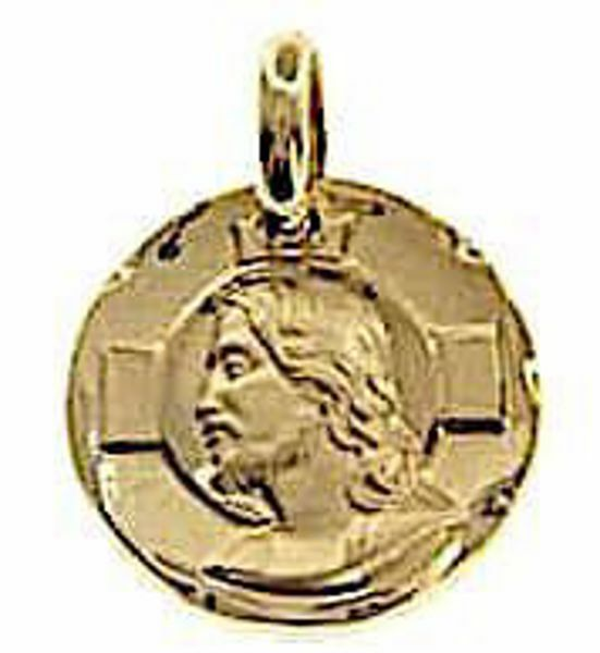 Immagine di Sacro Volto di Gesù Cristo con Aureola con bordo lavorato Medaglia Sacra Pendente tonda gr 3,4 Oro giallo 18kt Unisex Donna Uomo