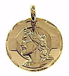 Picture of Holy Face of Jesus Christ Sacred Medal Round Pendant gr 4,6 Yellow Gold 18k Unisex Woman Man
