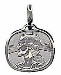 Picture of Holy Face of Jesus Christ with Rays of Light Sacred Square Medal Pendant gr 1,7 White Gold 18k Unisex Woman Man