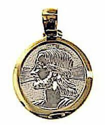 Picture of Holy Face of Jesus with aureole Sacred Medal Round Pendant gr 2,4 Bicolour yellow white Gold 18k Unisex Woman Man