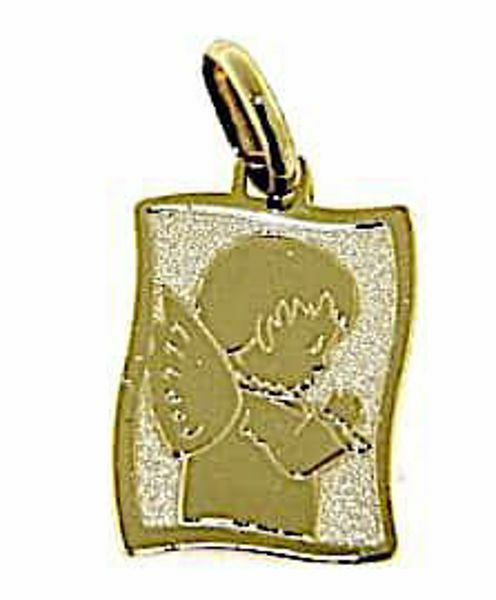 Picture of Guardian Angel praying Parchment Rectangular Medal Pendant gr 1,15 Yellow Gold 9k for Children (Boys and Girls)