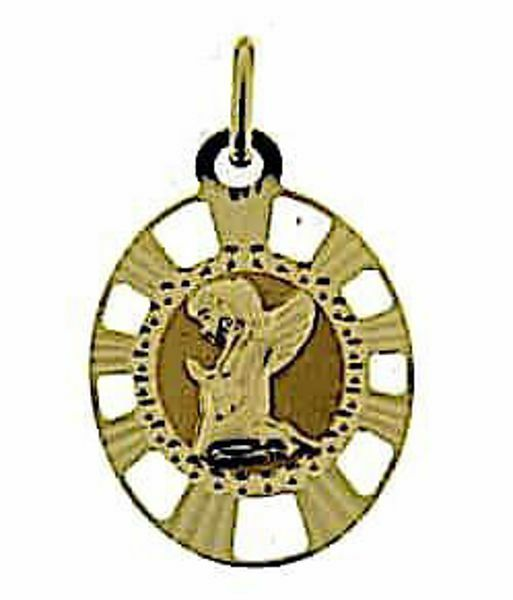 Picture of Guardian Angel praying with pierced edge Sacred Oval Medal Pendant gr 1,15 Yellow Gold 18k for Children (Boys and Girls)