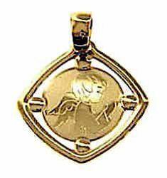 Immagine di Angelo Custode in preghiera Medaglia Sacra Pendente quadrata Bassorilievo gr 1,15 Oro giallo 18kt per Bimba e Bimbo
