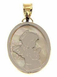 Picture of Guardian Angel praying Sacred Oval Medal Pendant gr 1,6 Bicolour yellow white Gold 18k with white Mother of Pearl for Children (Boys and Girls)