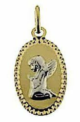Immagine di Angelo Custode in preghiera con bordo diamantato Medaglia Sacra Pendente ovale gr 1 Bicolore Oro giallo bianco 18kt per Bimba e Bimbo