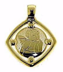 Picture of Angel of Raphael Square Medal Pendant gr 0,95 Yellow Gold 9k for Woman, Boy and Girl